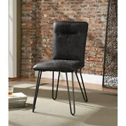 Faux Leather Upholstered Metal Side Chair With Hairpin Legs Black Modern And Cont