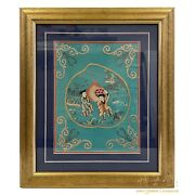19 Century Antique Chinese Silk Embroidery Framed Panel, Wall Hanging