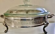 Oneida Silver Plate Footed Serving Dish With Pyrex Bowl And 2 Lids