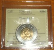 Iccs Ms66 Canada 2006 Bu Toonie Two Dollar Churchill Double Date On Top Ms-66