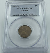 1909-s Pcgs Ms64rb Lincoln Wheat Cent Penny