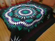 King Size Machine Pieced And Quilted Patchwork Quilt J-155