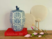 Vintage Hand-painted Chinese Blue And White Ginger Jar With Foo Dog Finial
