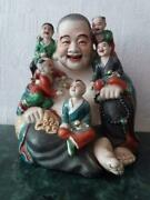 Laughing Buddha With Children Porcelain Hotei 1st Half Of The 20th Century