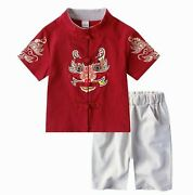 Kids Boy Girl Chinese New Year Asian Traditional Tang Costume Tops Outfit Set
