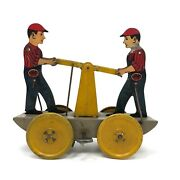 Girard 1940s Tin Litho Wind-up Railroad Handcar With Figures, Working With Key