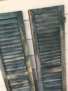 Antique Wood Shutters Louvered Salvage Shabby Victorian Farmhouse Windows 58