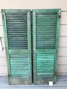 Antique Wood Shutters Louvered Salvage Shabby Victorian Farmhouse Windows 55.5