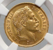 1867 A France Emperor Napoleon Iii Antique Gold 20 Franc French Ngc Coin I91642