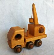 Yensho's Vintage Wooden Toy Tow Truck Hand Made Solid Wood 1970's
