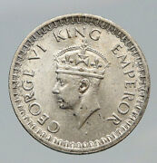 1943 B India States Uk George Vi Antique Old Silver 1/2 Rupee Indian Coin I91706