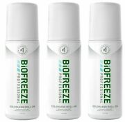 New Biofreeze Professional Colorless 3oz Roll On - Pack Of 3