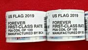 Two 2 Rolls / Coils Of 2019 Us Flag Forever By Bca 100 Usa Stamps. Sc 5343