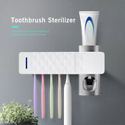 Electric Uv Toothbrush Holder Sterilizer And Auto Toothpaste Dispenser Set