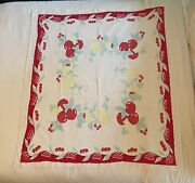 """Vintage Cherries Tablecloth Fruit Linen 52"""" X 47"""" Red Light Blue Yellow"""