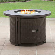 Gas Fire Pit 37 In. Outdoor Patio Heating Aluminum Top Lid Glass Bead Decorative