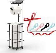 Bathroom Decor Tissue Toilet Paper Holder Stand With Toilet Seat Lifter - Black