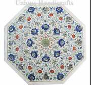 White Marble Dining Table Top Inlay With Multi Color Stones Beautiful Home Dandeacutecor
