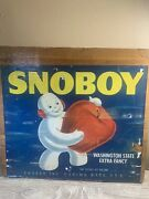 Vintage Wood Crate End W/label - Snoboy Pacific Fruit And Produce Seattle Wa