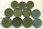 11 Different And Older Coins From France 4 Denominations/all 1950's/9 W/ Rooster