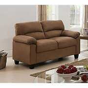 Microfiber Transitional Loveseat Brown Modern And Contemporary