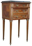 Antique Louis Xvi French Walnut Marble And Brass Parquetry Humidor Side Table