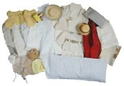 Lot Of 24 Antique And Vintage Doll Clothes Hats Accessories Bedding