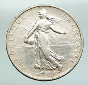 1908 France Antique Silver 2 Francs French Coin W La Semeuse Sower Woman I91637