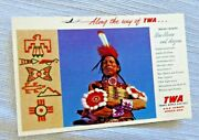 Vintage Postcard Twa Trans World Airlines New Mexico Arizona Indian Country 50's