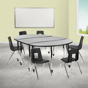 Mobile 86 Oval Wave Activity Table Set-18 Student Stack Chairs Grey/black