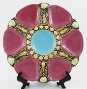 Mauve - 6 Well Minton Seaweed And Shells Oyster Plate Antique Majolica Dated 1882