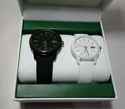 Lacoste 12.12 2070003 Black White Gold New Womenand039s Menand039s Wristwatch Watch Set
