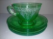 Green Federal Georgian Lovebirds Baskets Depression Glass Cup And 4 Saucers