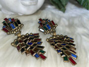 Miriam Haskell Style By Sorrelli Huge Stained Cut Glass Panel Earrings B2
