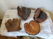 4 Vintage Baseball Gloves Catchers Mitts Wilson Minor League Claw 1st Base