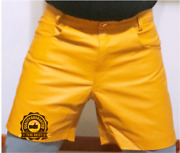 Menscow Leather Shorts Yellow Casual 5 Pockets Short Zipper Fly Real Leather