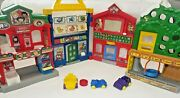 Fisher Price Little People Learn About Town Playset Fold Up And Go With Cars Euc