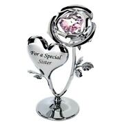 Crystocraft Chrome Plated Rose And Heart Ornament Sister