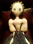 Amazing Huge Hand Made Vintage New Hampshire Folk Art Cloth Doll Early 19th Styl