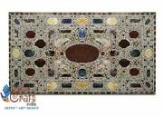Black Marble Collectible Dining Decorative Center Table Mosaic Multi Stone Décor