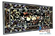 Black Top Marble Dining Table Fruit Marquetery Floral Design Handmade Home Dandeacutecor