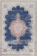 Muted Semi-antique Kirman Evenly Low Pile Distressed Area Rug Wool Handmade 6x9