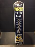 Antique Vintage Porcelain Mail Pouch Thermometer Advertising Sign-over 3' Tall