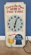 Vtg Pabst Blue Ribbon Wood Beer Sign 1960s Wall Clock A/c Pbr Working