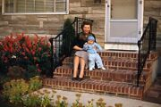 35mm Slide 1950s Red Border Kodachrome Pretty Mother And Son On Stairs Of House