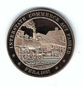1887 Interstate Commerce Act Railroad Train Rates Regulated Bronze Coin Medal