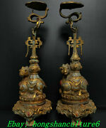 Old Warring States Dynasty Bronze Ware Gold Gems Sheep Candle Holder Candlestick