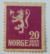 Norway Postage Stamp 1922 Norge 20 Ore With Underline Lion Purple Mh