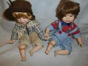 Vintage Granville House Collection Porcelain Boy And Girl Dolls W/booboos
