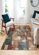 Mainstays Abstract Tiles Indoor Living Room Area Rug, Brown, 5' X 7'